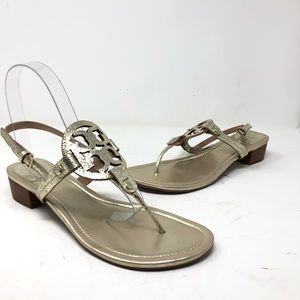 Tory Burch Shoes - Tory Burch Miller metallic 30mm thong sandals 11